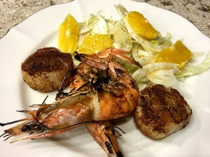 shrimp scallop with salad